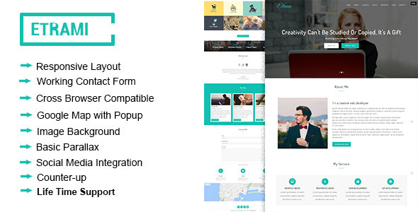 Etrami - Onepage Portfolio HTML Template - Portfolio Creative
