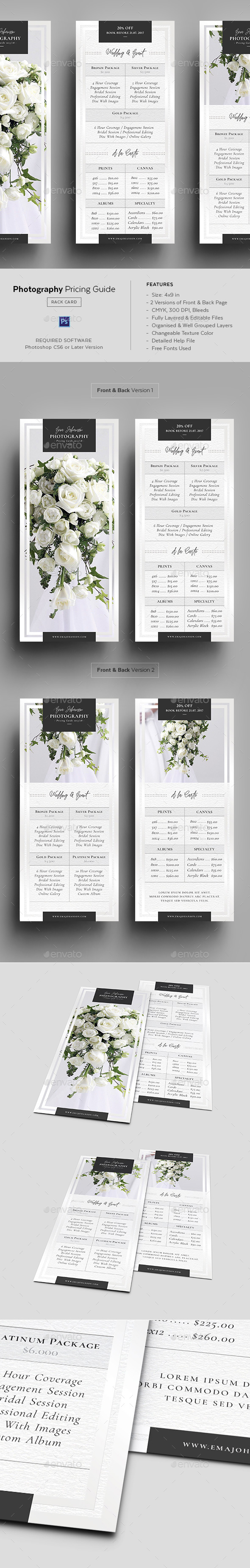 Photography Pricing Guide - Rack Card Template - Corporate Flyers