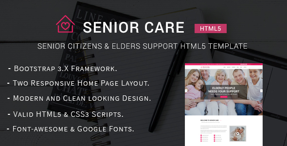 Senior Care – Senior Citizens & Elders Support HTML5 Template