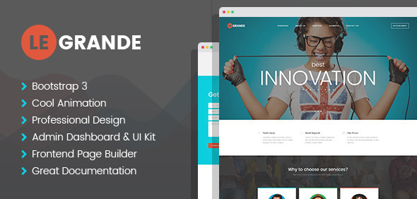 LeGrande – Corporate HTML Template with Visual Builder and Dashboard Pages