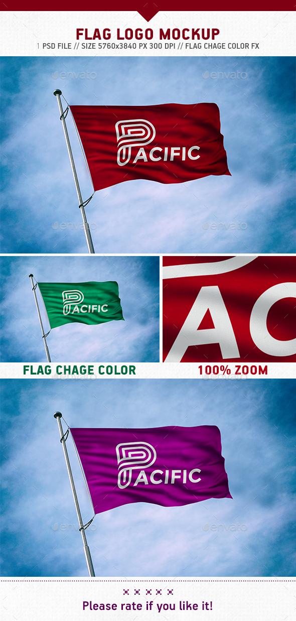 Flag Logo Mockup - Logo Product Mock-Ups