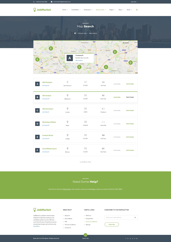 JobMarket Job Portal PSD Template Multipurpose By Uidesignerhub - Contact us map is not working in job career theme