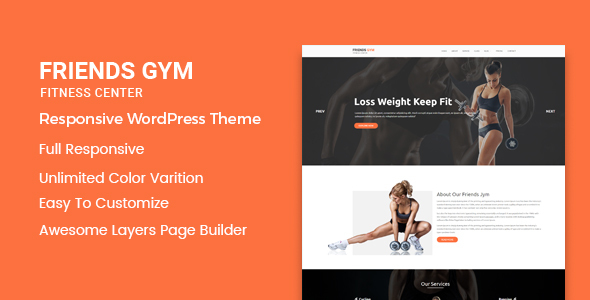 Friend Gym –  Responsive WordPress Theme