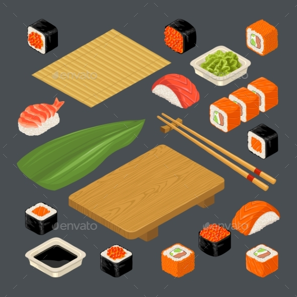 Set Icon Sushi Nigiri and Rolls. - Backgrounds Decorative