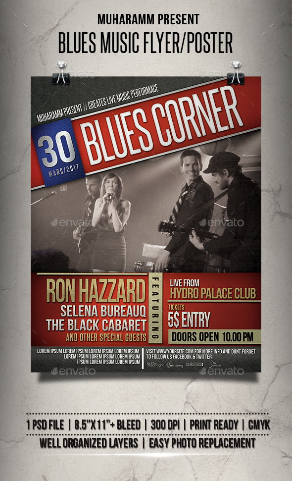 Blues Music Flyer / Poster - Clubs & Parties Events