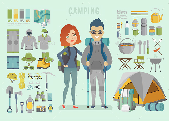 Camping Infographic. - Travel Conceptual