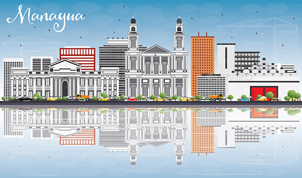Managua Skyline with Gray Buildings, Blue Sky and Reflections. - Buildings Objects