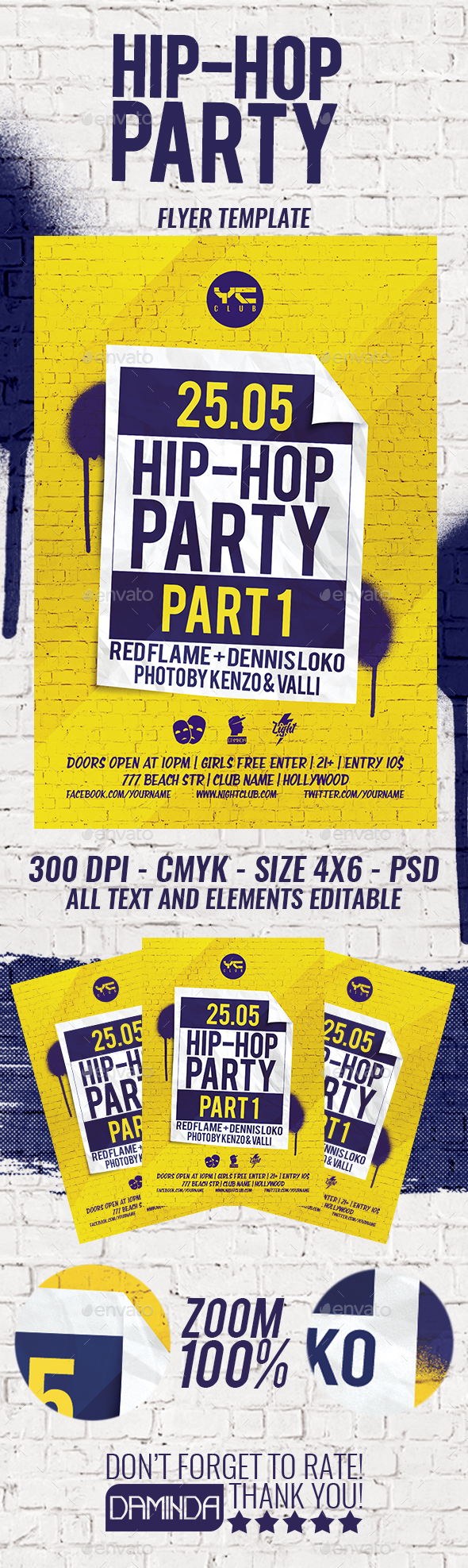 Hip-Hop Party Flyer Template - Clubs & Parties Events