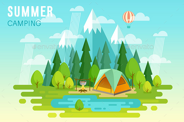 Summer Camping Graphic Poster. - Travel Conceptual