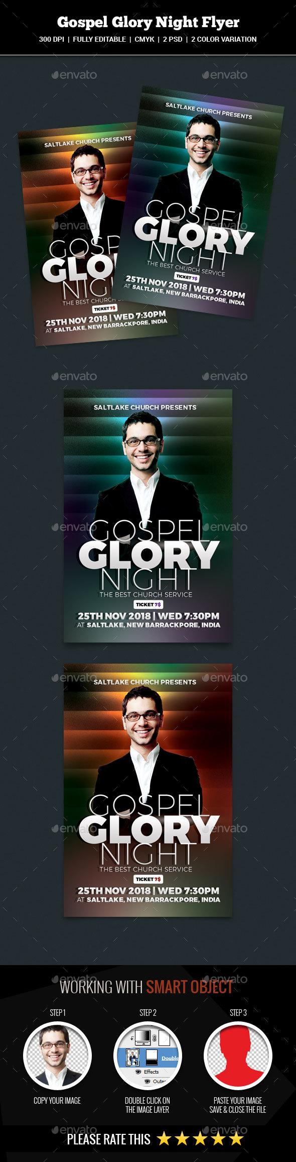 Gospel Glory Night Flyer - Church Flyers