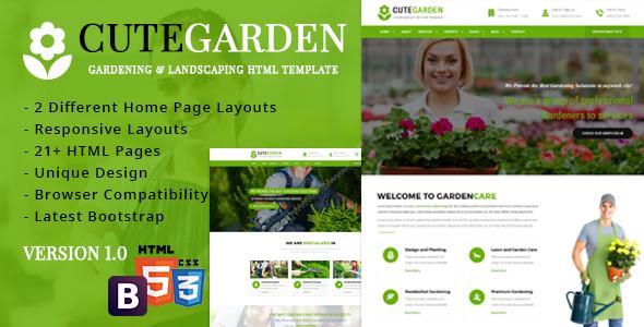 CuteGarden - Gardening & Landscaping Responsive Template - Business Corporate