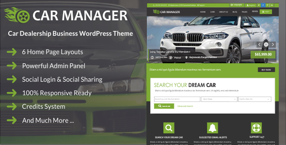 Car Manager – Car Dealership Business WordPress Theme