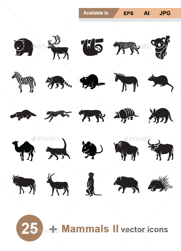 Mammals II Vector Icons - Animals Characters