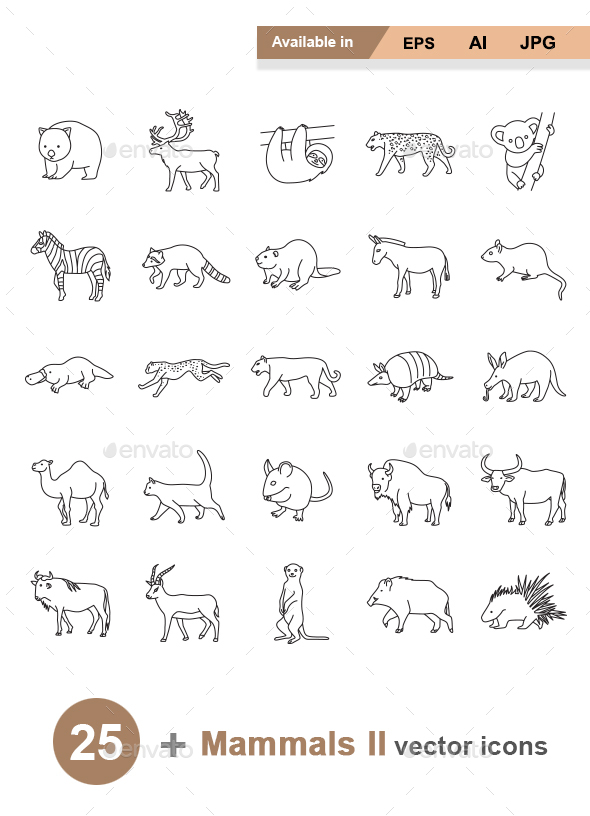 Mammals II Outlines Vector Icons - Animals Characters