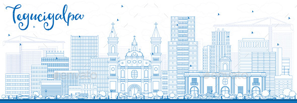 Outline Tegucigalpa Skyline with Blue Buildings. - Buildings Objects