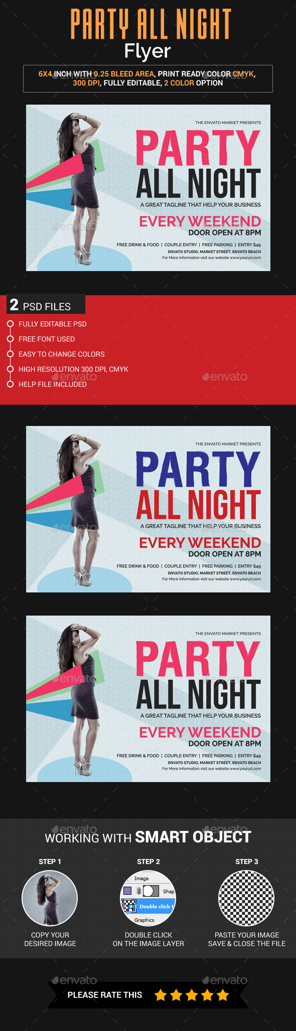 Party All Night Flyer - Clubs & Parties Events