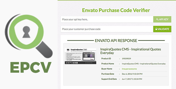 EPCV - Envato Purchase Code Verifier - CodeCanyon Item for Sale