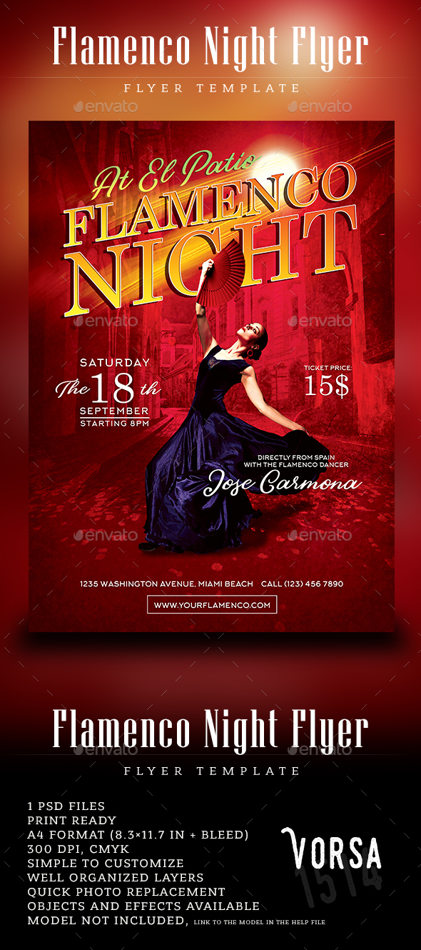 Flamenco Night Flyer Template - Concerts Events