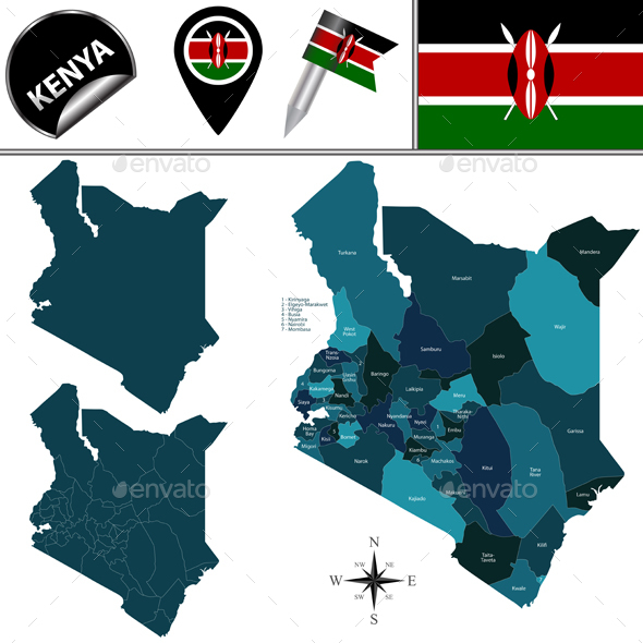 Map of Kenya with Named Counties - Travel Conceptual