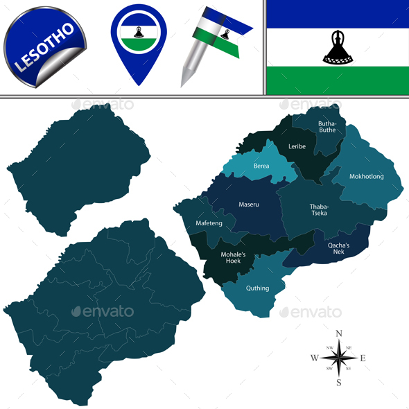 Map of Lesotho with Named Districts - Travel Conceptual