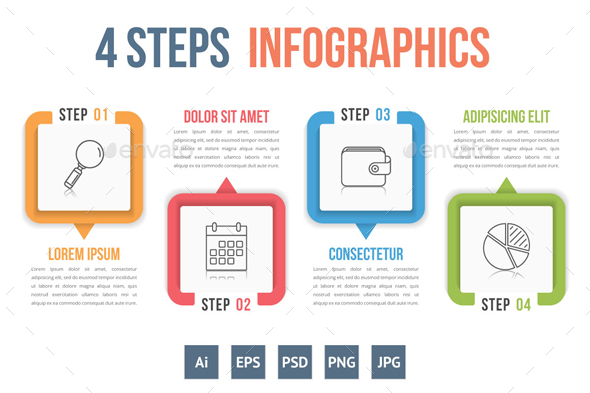 Four Steps Infographics - Infographics