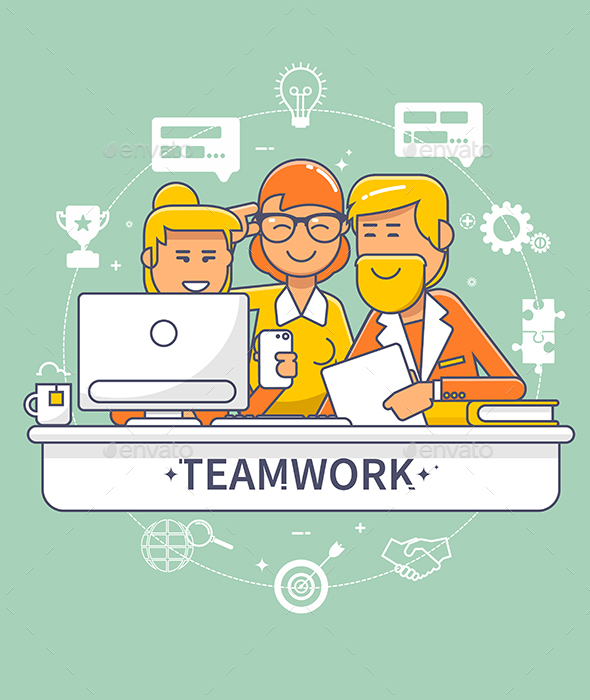 Flat Design Corporate Business Team People Standing And Sitting Behind Desk - Concepts Business