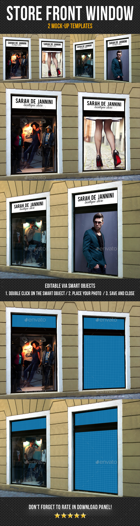 Store Front Window Mock-Up Pack 05 - Posters Print