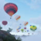 Hot Air Balloons Flying Over Cloudy Mountains - VideoHive Item for Sale