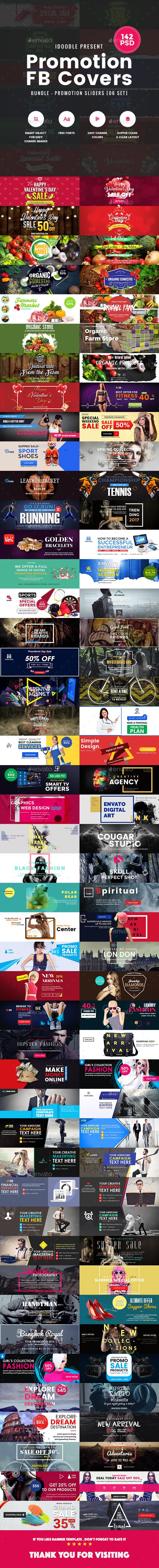 Bundle Facebook Timeline Covers - 142 PSD [06 Sets] - Facebook Timeline Covers Social Media