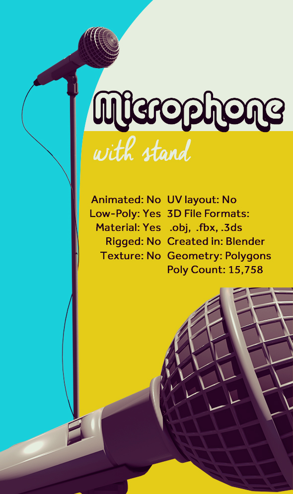 Microphone with stand - 3DOcean Item for Sale