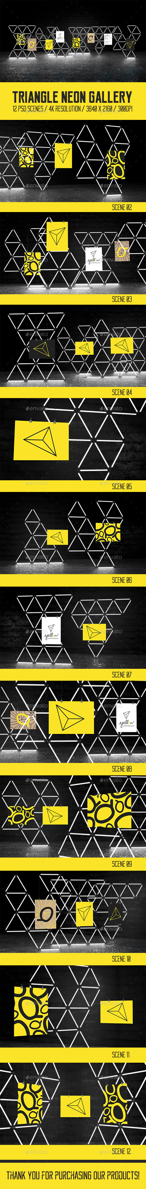 Triangle Neon Gallery Mock Ups Pack - Print Product Mock-Ups