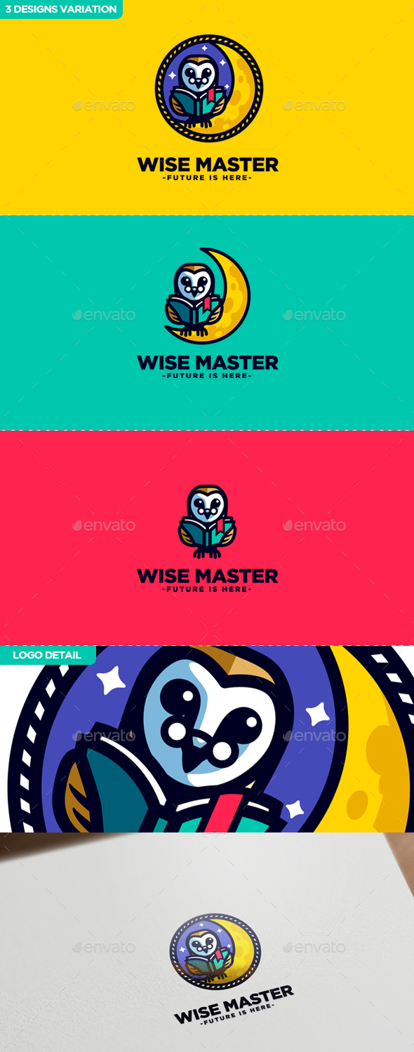 Wise Master - Owl Character Mascot Logo - College Logo Templates