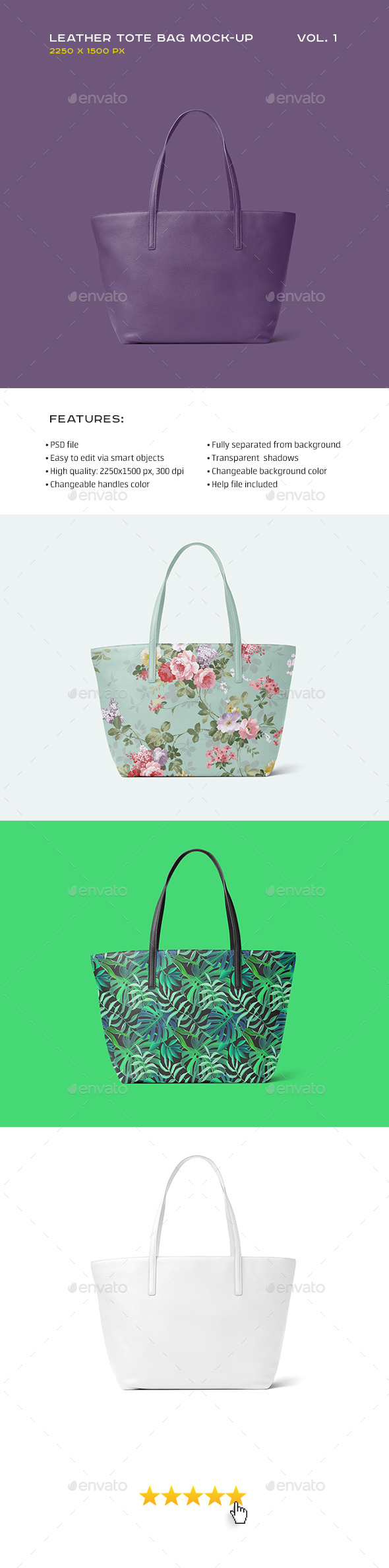 Leather Tote Bag Mock-up vol.1 - Miscellaneous Print