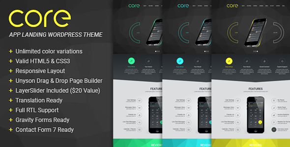 Core – Responsive App Landing WordPress Theme