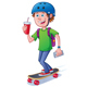 Teen Skateboarder with Backpack - GraphicRiver Item for Sale