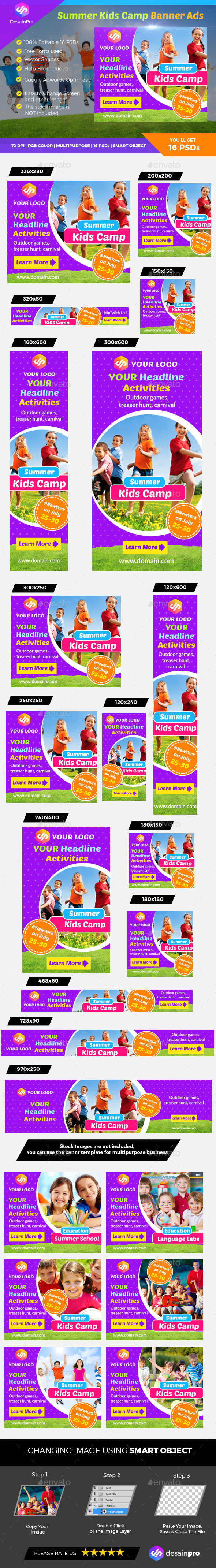 Summer Kids Camp Banner - Banners & Ads Web Elements