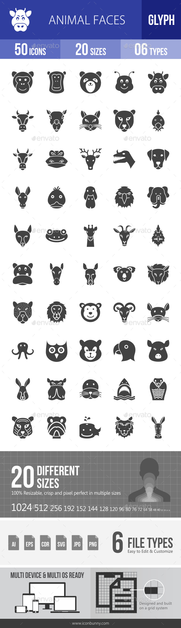 Animal Faces Glyph Icons - Icons