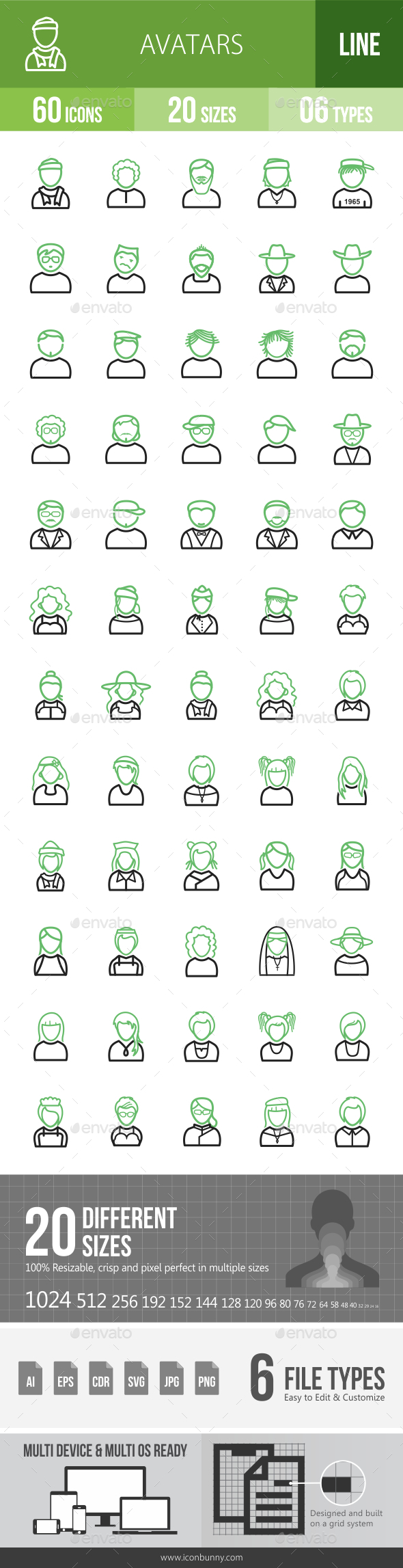 Avatars Line Green & Black Icons - Icons