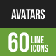 Avatars Line Green & Black Icons - GraphicRiver Item for Sale
