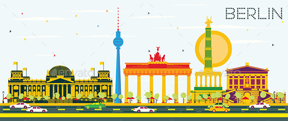 Berlin Skyline with Color Buildings and Blue Sky. - Buildings Objects