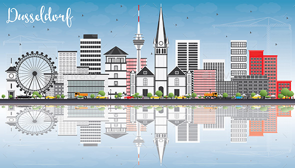 Dusseldorf Skyline with Gray Buildings, Blue Sky and Reflections. - Buildings Objects