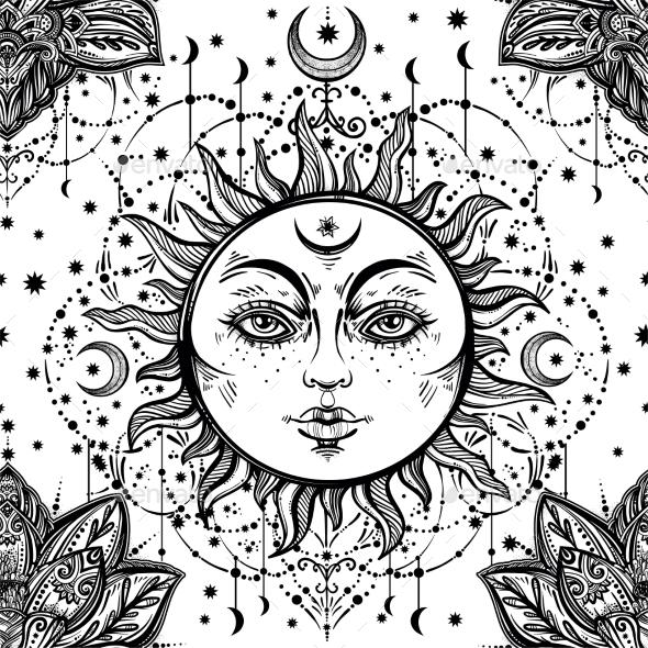 Beautiful Floral Paisley Sun Face Pattern. - Backgrounds Decorative