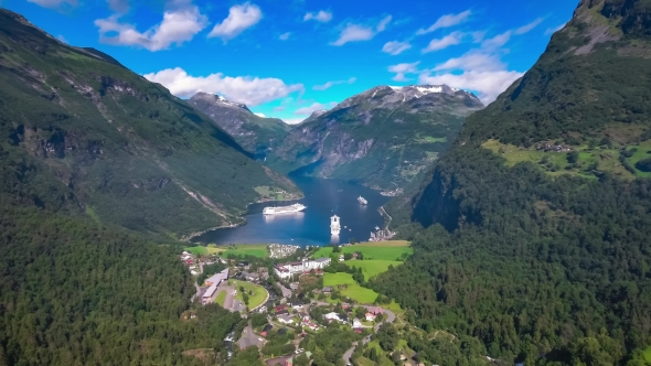 Geiranger Fjord, Beautiful Nature Norway Aerial Footage