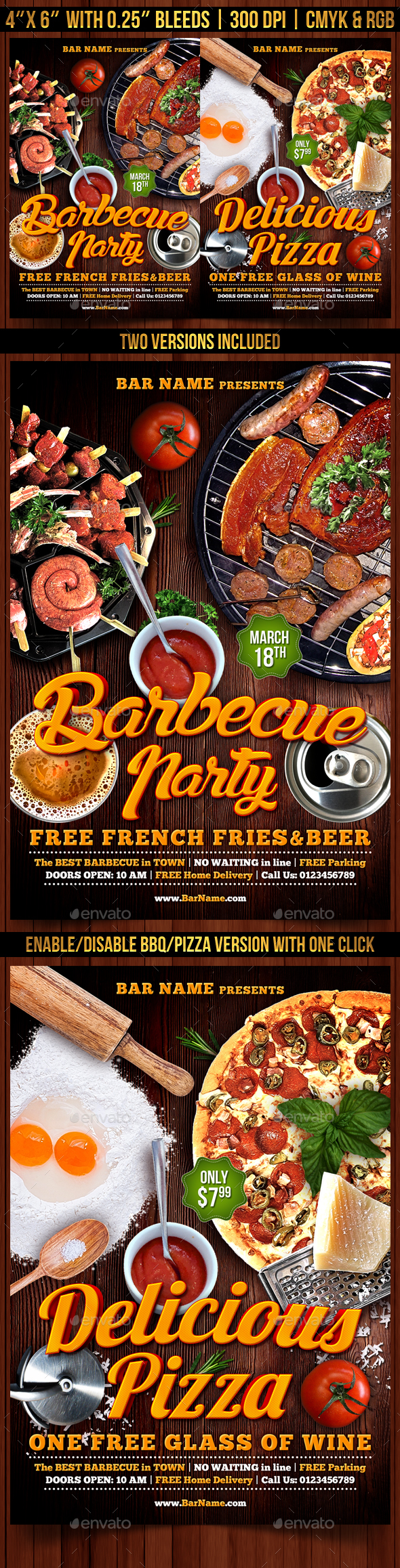 Barbecue and Pizza Flyer Template - Restaurant Flyers