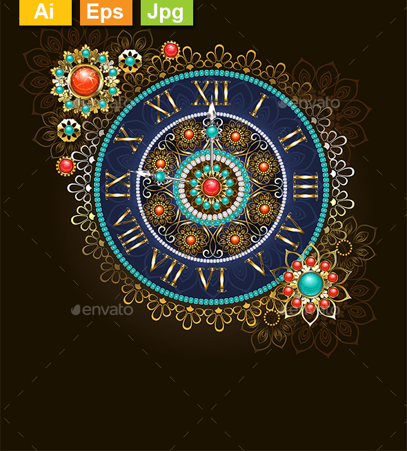 Clock with Beads - Decorative Symbols Decorative