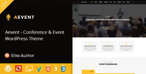 Aevent - Conference & Event WordPress Theme - Events Entertainment