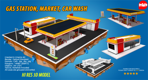 Gas Station, Market, Car Wash
