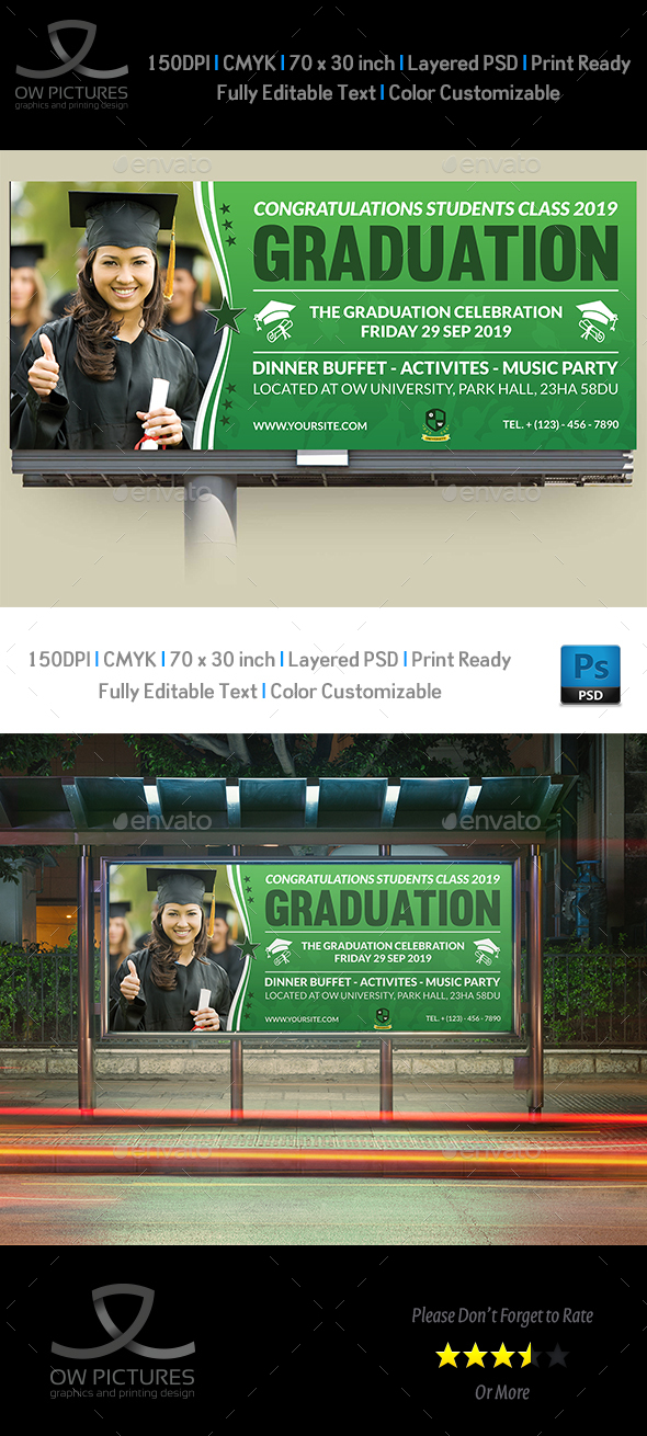 Graduation Billboard Template - Signage Print Templates