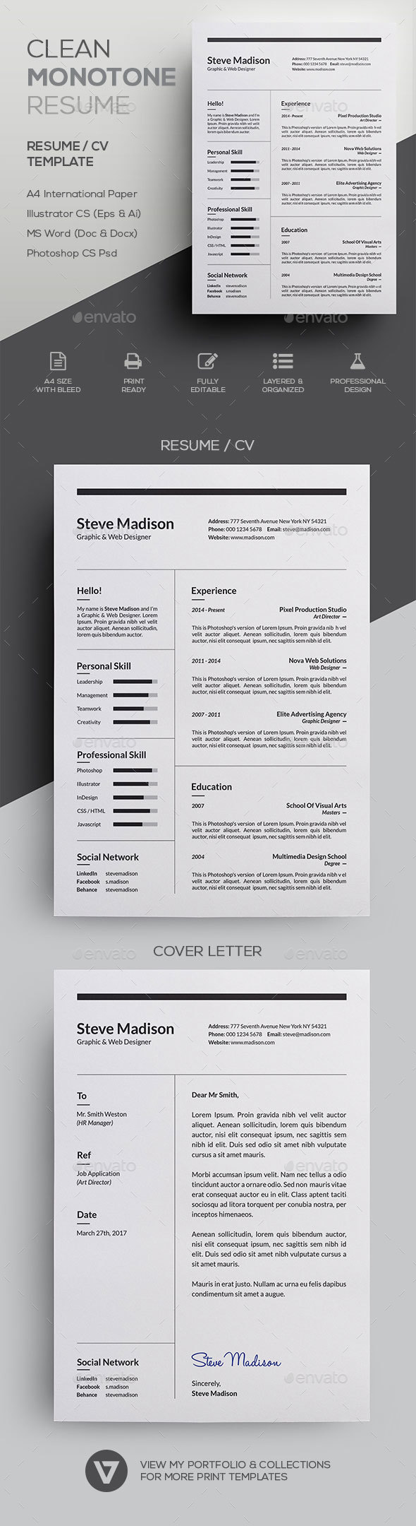 Clean Monotone Resume / CV Template - Resumes Stationery