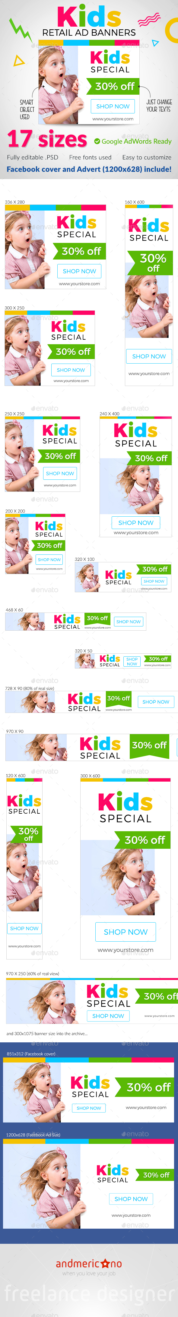 Kids Banner Set - Banners & Ads Web Elements